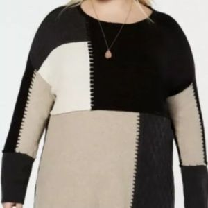 Style & Co Plus Size Colorblock Tunic Sweater  2X